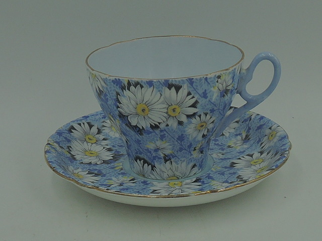 Vintage Shelley Blue Daisy Cup and Saucer Blue Handle Gold Rim