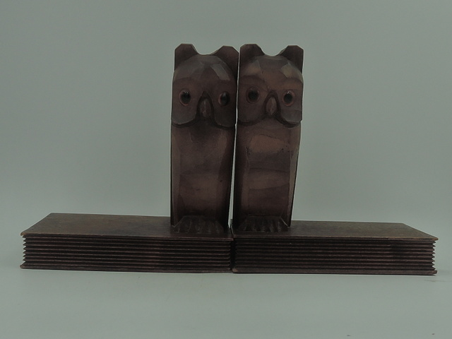 Wooden Hand Carved German Black Forest Owl Book Ends Amber Glass Eyes