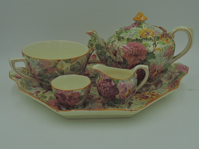 Rare! Vintage Crown Ducal Chintz Pink Peony Breakfast Set Tea For One Mint