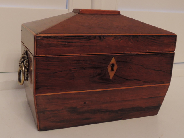 19th C. Antique English Rosewood Tea Caddy Box w/Brass Ring Handles Victorian