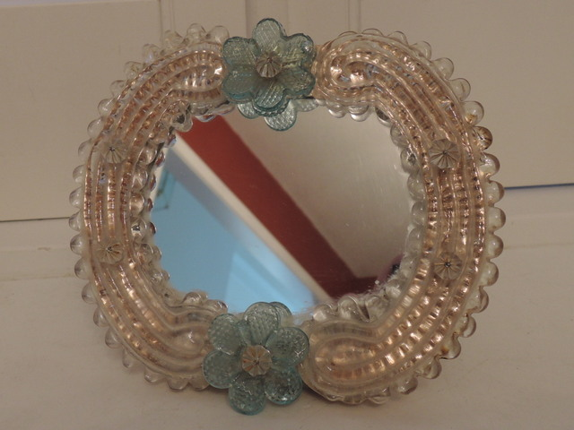Vintage Italian Venetian Murano Glass Ladies Vanity Dresser Mirror Blue