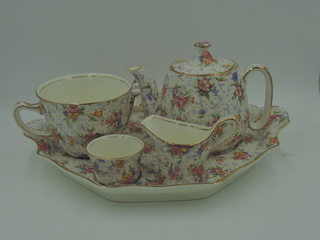 Vintage Royal Winton Chintz Eleanor Breakfast Set Teapot Tea For One Pink Roses