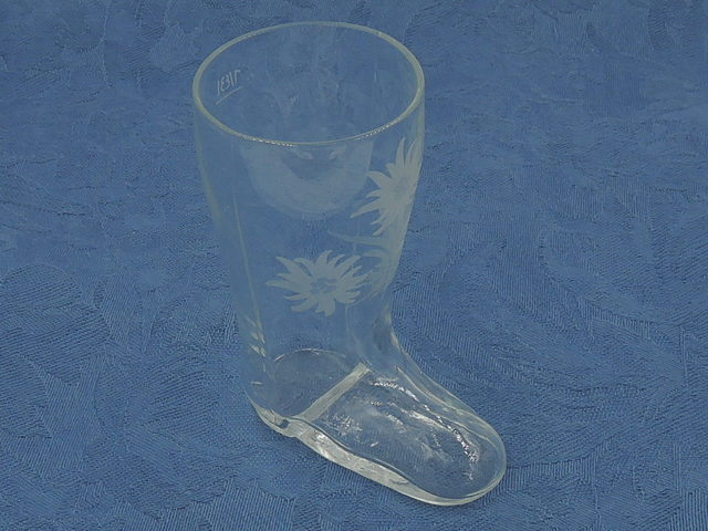 Antique Victorian Pressed Clear Glass Boot Vase Etched Flowers 19th C.