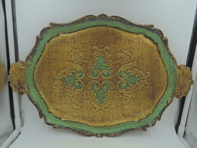 Vintage Italian Florentine Handled Wooden Tray Green & Gold Wood Platter