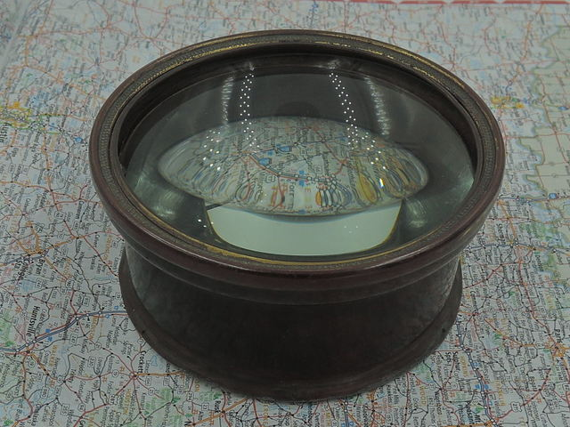 Antique English Brass Map Reader Glass Magnifying Magnifier Desktop Paperweight
