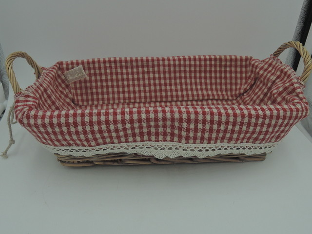 Clementine Creations French Wicker Pain Bread Basket w/Red & White Checkered Liner