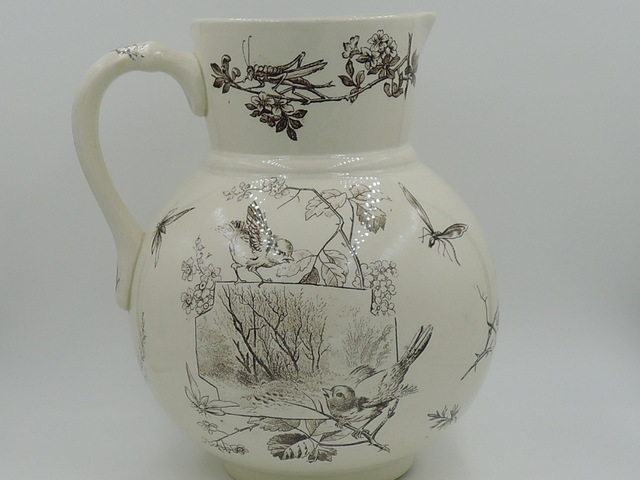 Antique Aesthetic Brown Transferware Pitcher w/Birds, Insects 1880's