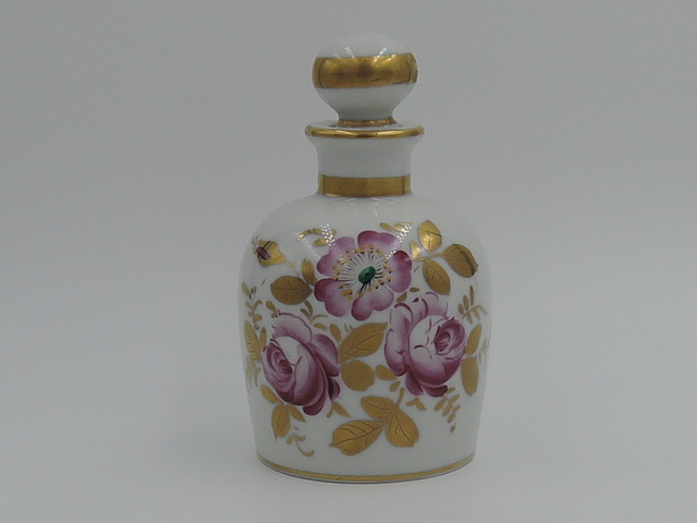 Vintage Paris French Hand Painted Perfume Bottle w/Dabber Pink Roses Gilt Ceramic