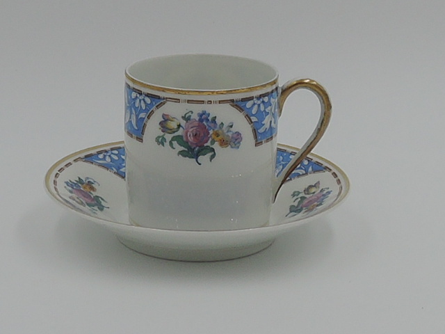 Vintage Limoges Raynaud & Co. Petite Cup & Saucer Blue Pink Roses