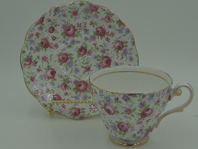 Vintage Limoges Theodore Haviland Petite Cup & Saucer Gilt Pink Roses