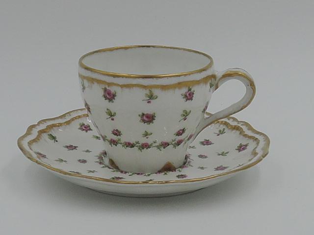 Vintage Limoges Theodore Haviland Petite Cup & Saucer Pink Roses