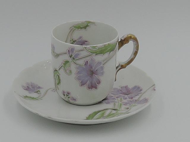 Vintage Limoges W.G. & Co Petite Cup & Saucer Green/Lavender Florals Purple