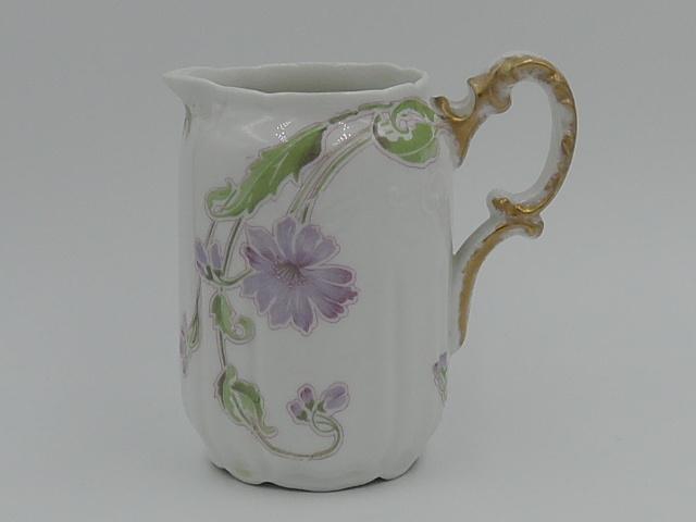 Vintage Limoges W.G. & Co Pitcher/Creamer Green/Lavender Florals Purple
