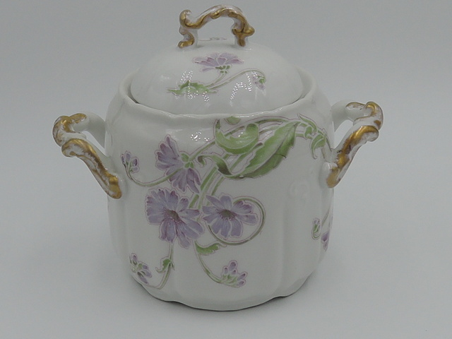 Vintage Limoges W.G. & Co Sugar Bowl Green/Lavender Florals Purple