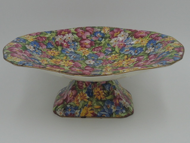 Vintage Royal Winton Chintz Joyce-Lynn Footed Compote 1950's