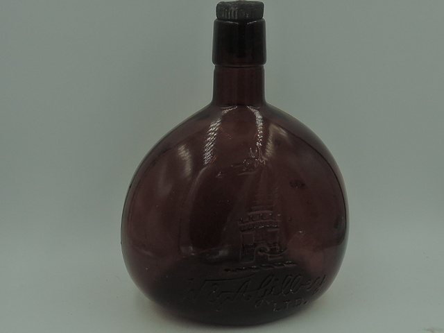 Rare Antique W & A Gilbey LTD Gin Amber Glass Bottle 1880's w/Dragon