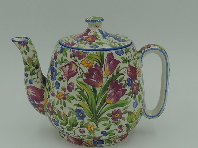 Vintage Royal Winton Chintz Springtime Teapot Tea For One Breakfast Set Countess