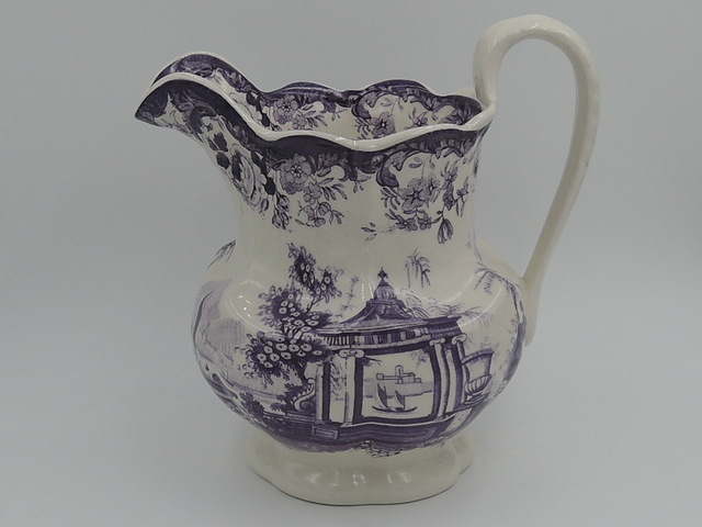 Antique 19th C. Purple/Mulberry Transferware Pitcher Jug Gorgeous!