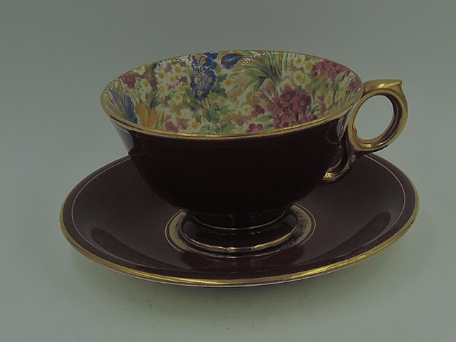 Vintage Royal Winton Best Gold Chintz Crocus Burgundy Cup & Saucer Teacup