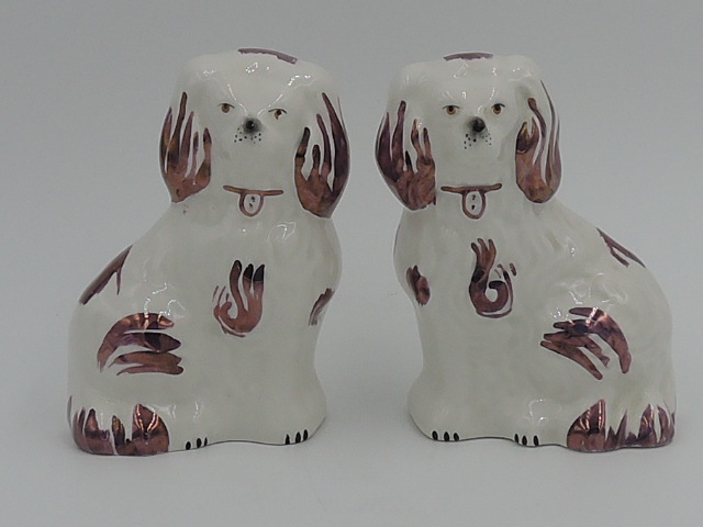 Darling Vintage Petite Pair of Beswick Dogs White & Pink Luster