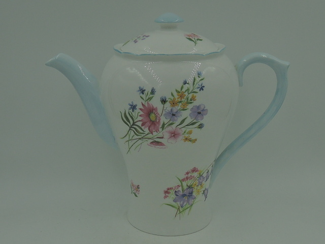 Vintage Shelley Blue Wild Flowers Teapot/Coffee Pot Beautiful