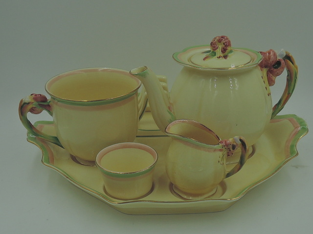 Vintage Royal Winton Cream Tiger Lily Breakfast Set w/Pink & Green Teapot Tea for One