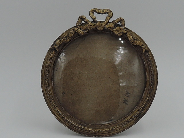 "Antique French Ormolu Bronze Round Photo Frame 3.5"" x 3.5"" Picture"