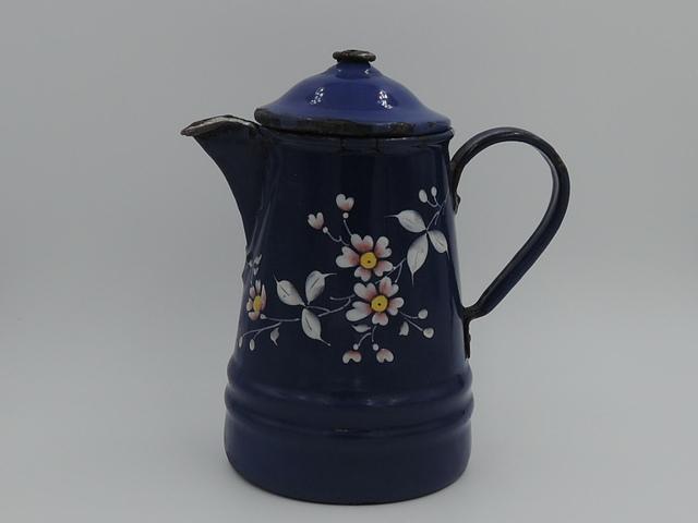 Vintage French Enamelware Cobalt Blue Handpainted Flowers Teapot 1920's Enamel