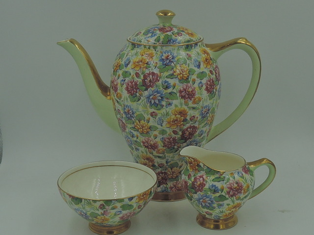 Rare! Vintage Empire Ware Chintz Water Lily Teapot Coffee Pot Tea Set