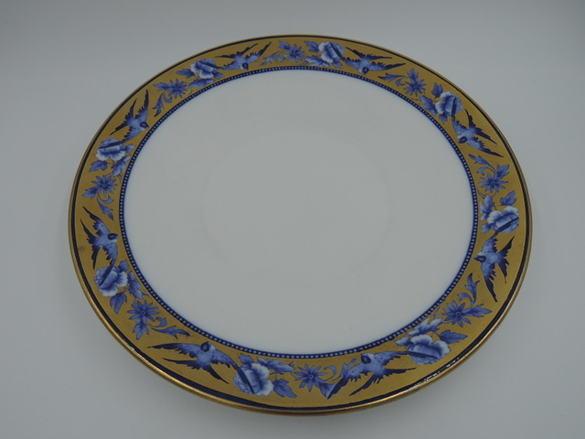 "Antique The Foley China Shelley Blue Bird Swallows 9"" Dinner Plate 1894-1910"