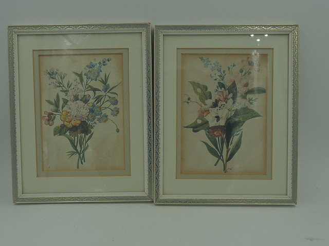 Vintage Pair of Hand Painted Watercolor Botanicals Framed English Painting