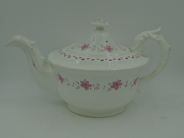 Antique Pink Pearlware Teapot Early 19th C.