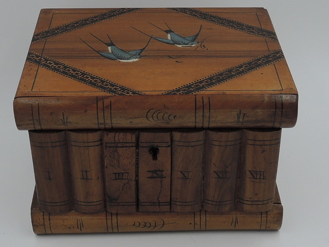 Vintage Italian Olive Wood Stacked Book Shape Wooden Box Blue Birds