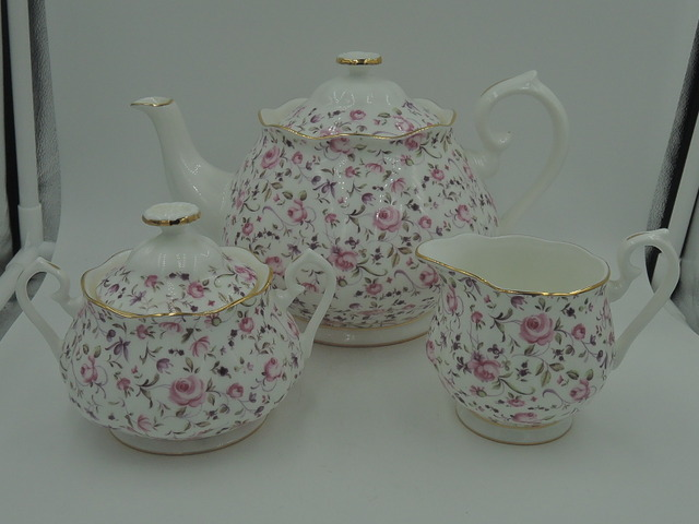 Royal Albert Chintz Rose Confetti Teapot Creamer Sugar Tea Set Rose Dubarry Chelsea