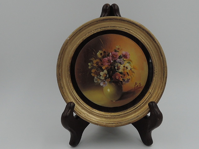 Vintage Belgian Petite Gilt Frame Round Still Life Flowers Oil Painting Signed