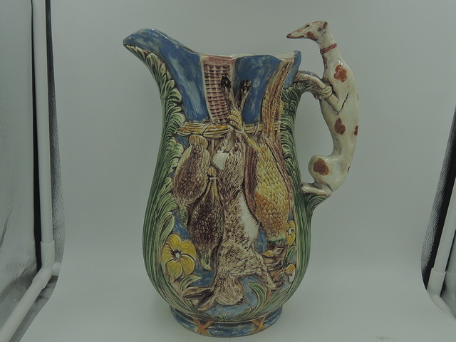 "Antique Majolica Large Jug Pitcher Greyhound Dog Handle Hunting Game 10 1/2"" 1880's"