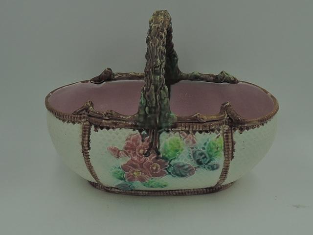 Antique Victorian Majolica Floral Basket Pink Interior Branch Handle 1880's