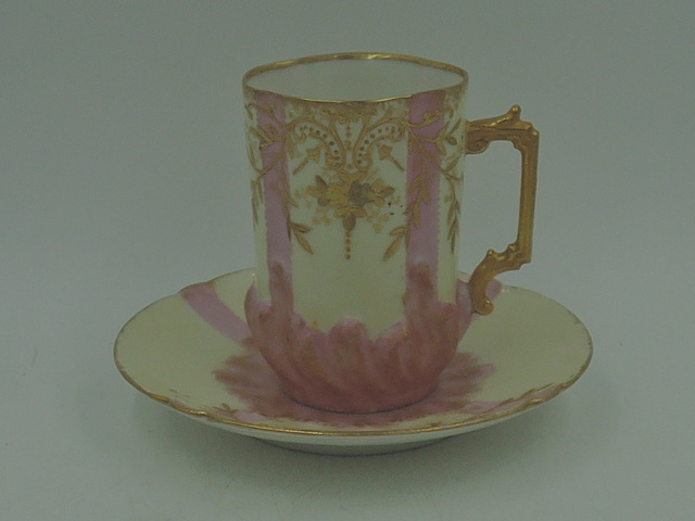 Antique L S & S Limoges Porcelain Pink & Gold Encrusted Cup & Saucer