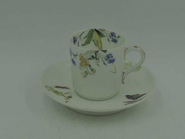 Antique Haviland & Co. Limoges Porcelain Cup & Saucer Lilies, Butterflies, Birds,