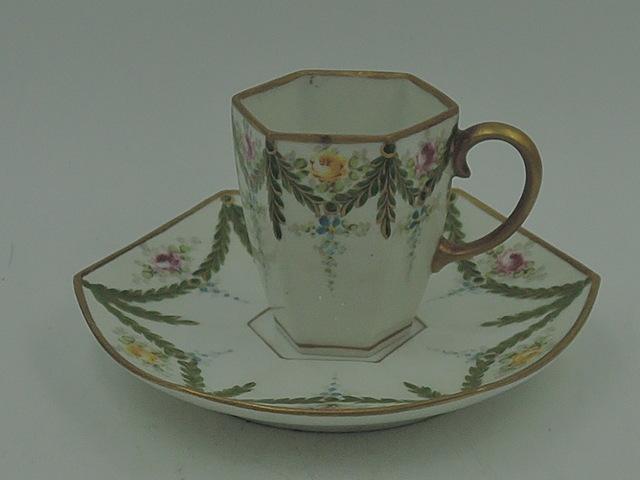 Antique Petite Porcelain La Seynie PP Limoges MR Cup & Saucer Roses