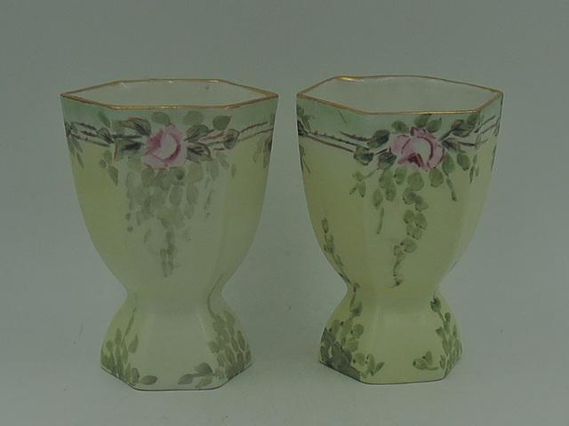Antique Pair of Porcelain Limoges Egg Cups Pink Roses