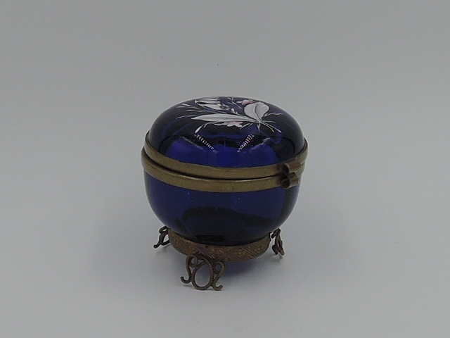 Antique French Ormolu Cobalt Blue Glass Hand Painted Enamel Jar/Box