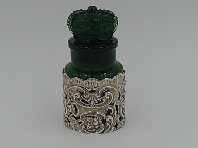Rare Antique The Crown London Smelling Salts Perfume Emerald Green Bottle Encased Sterling Silver