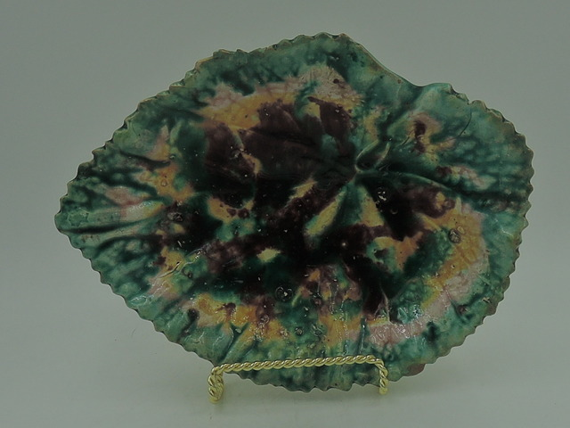 Antique Begonia Leaf Majolica Plate Dish Tray 1880's Autumn Colors