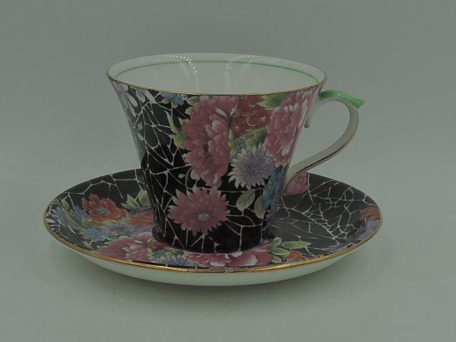 Gorgeous Shelley Black Crackle Chintz  Cup & Saucer Richmond Shape Rare! 0199