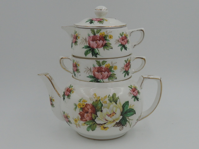Vintage Hammersley Bone China Stacked Stacking Teapot Tea for One Peonies