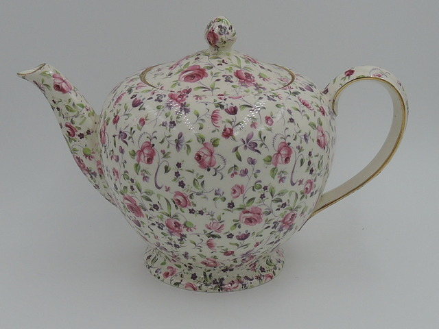 Vintage Royal Winton Chintz Rose Dubarry Albans Shape Teapot 6 Cups