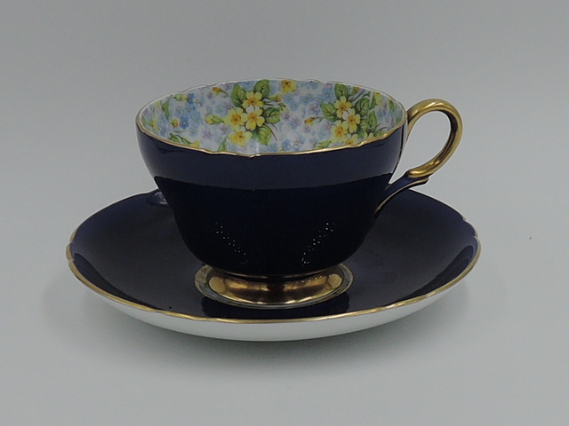 Vintage Shelley Chintz Primrose Cup & Saucer Navy w/Gold Fine Bone China