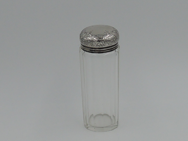 Antique Victorian Sterling Silver Lid & Glass Ladies Vanity Jar London 1869