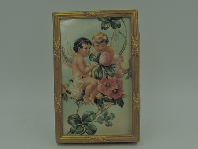 """Sweet French Gilt Metal Crossed Ribbon Frame 3"""" x 5"""" Photo Picture"""